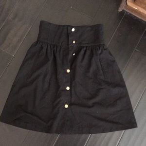 Zara black and gold button up skirt